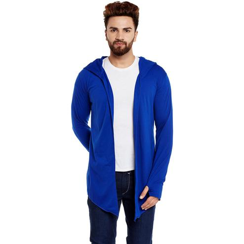 Chill Winston - Royal Blue Colored Hooded Cardigan With Thumb Insert For Men