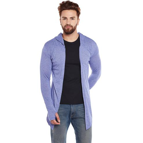 Chill Winston - Royal Blue Colored Grindle Hooded Cardigan With Thumb Insert For Men