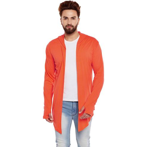 Chill Winston - Orange Colored Cotton Hooded Cardigan For Men