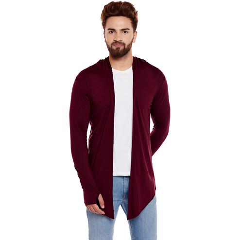 Chill Winston - Maroon Colored Cotton Hooded Cardigan For Men