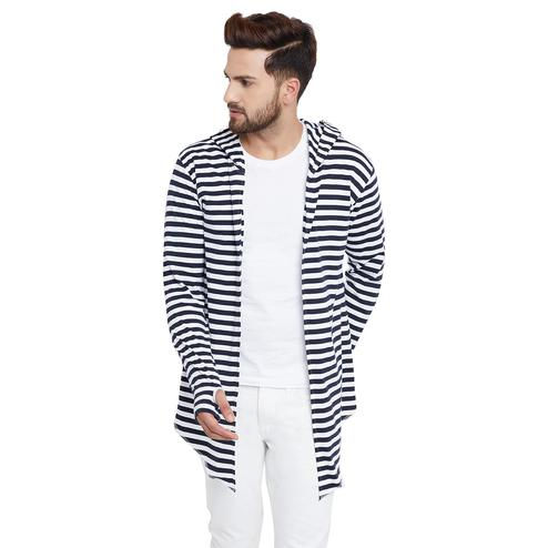 Chill Winston - White-Navy Blue Colored Stripe Hooded Cardigan with Thumb Insert for Men