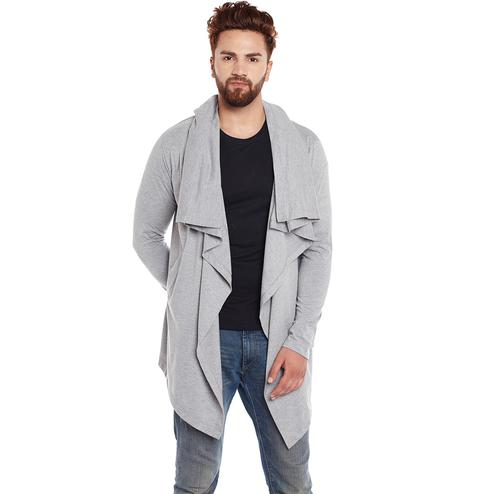 Chill Winston - Grey Melange Colored Cotton Waterfall Cardigan for Men