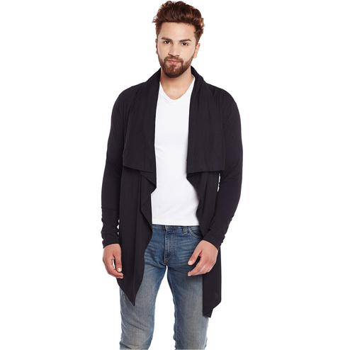 Chill Winston - Black Colored Cotton Waterfall Cardigan for Men