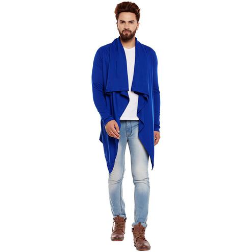 Chill Winston - Royal Blue Colored Cotton ed Waterfall Shrug for Men