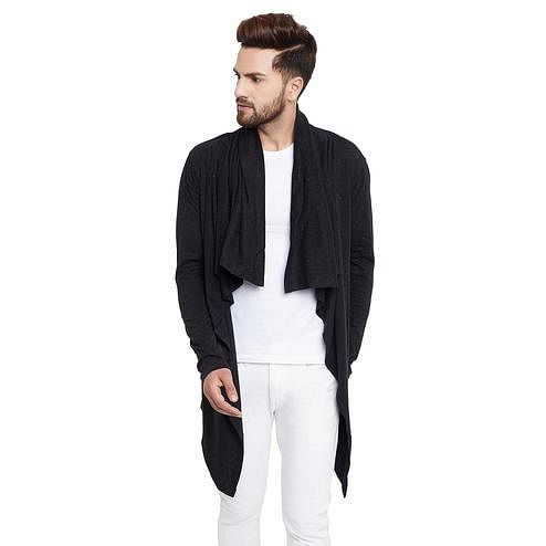 Chill Winston - Black Colored Waterfall Cardigan for Men