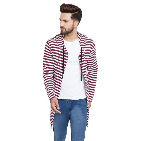 Chill Winston - Maroon-White Colored Zipper Cardigan for Men