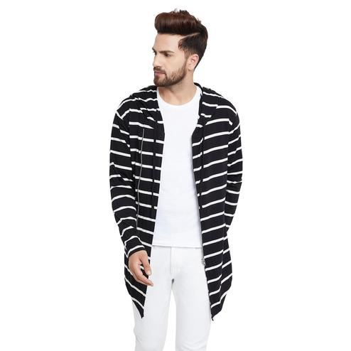 Chill Winston - Black-White Colored Zipper Cardigan for Men