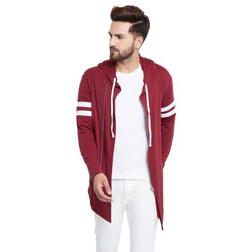Chill Winston - Maroon Colored Zipper Cardigan for Men