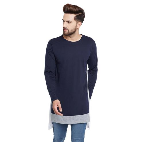 Chill Winston - Navy Blue Colored Contrast Super Longline T-Shirt for Men