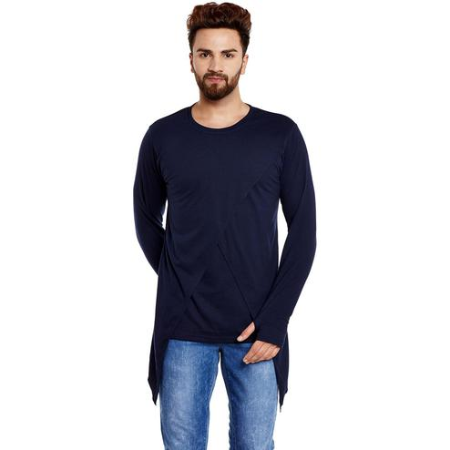Chill Winston - Navy Blue Colored Cotton Long Sleeve Cross Design Overlap T-Shirt with Thumb Insert