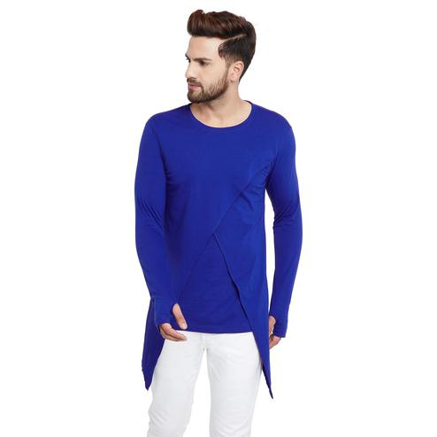 Chill Winston - Royal Blue Colored Cotton Long Sleeve Cross Design Overlap T-Shirt with Thumb Insert