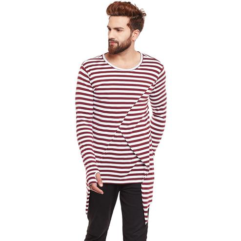 Chill Winston - Maroon-White Colored Stripe Cotton Long Sleeve Cross Design Overlap T-Shirt with Thumb Insert