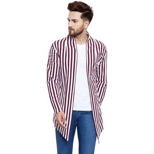Chill Winston - Maroon-White Colored Stripe Cotton Shrug for Men