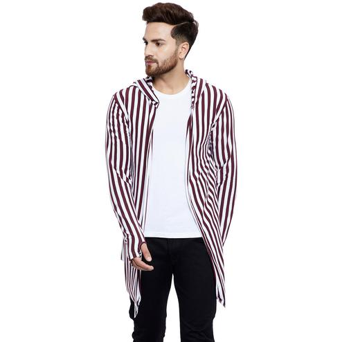 Chill Winston - Maroon-White Colored Stripe Hooded Cardigan with Thumb Insert for Men