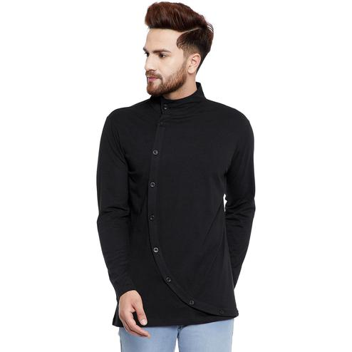 Chill Winston - Black Colored Asymmetrical Long Sleeve Button Down T-Shirt