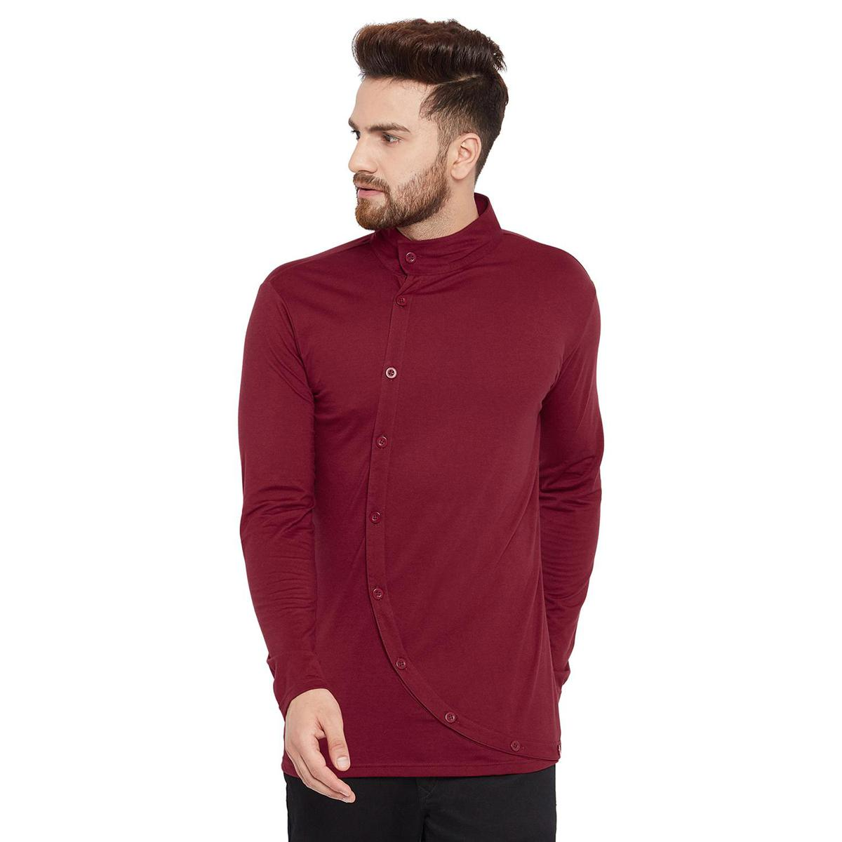 Chill Winston - Maroon Colored Asymmetrical Long Sleeve Button Down T-Shirt