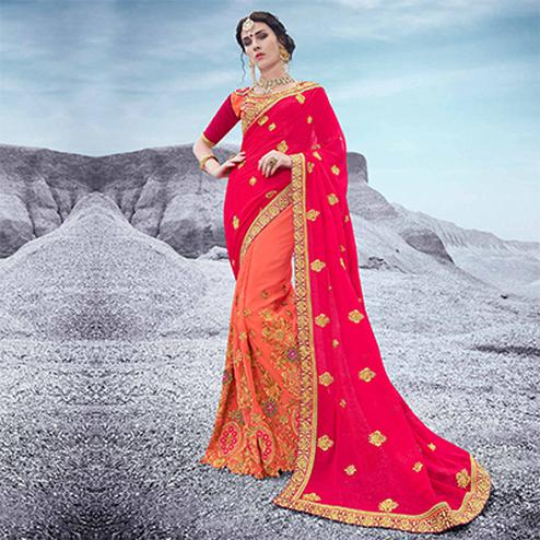 Beautiful Pink And Orange Embroidered Half & Half Georgette Saree