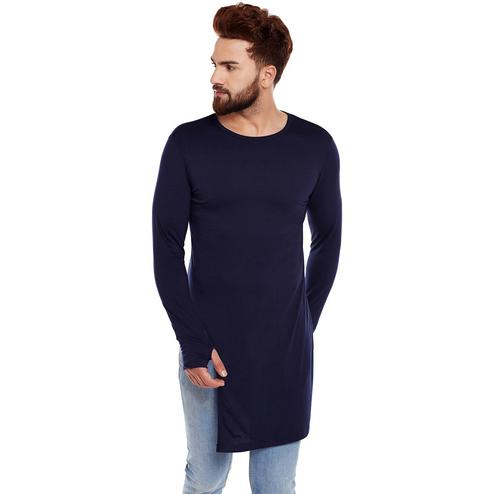Chill Winston - Navy Blue Colored Long Sleeve Longline Cotton Thumb Insert T-Shirt for Men