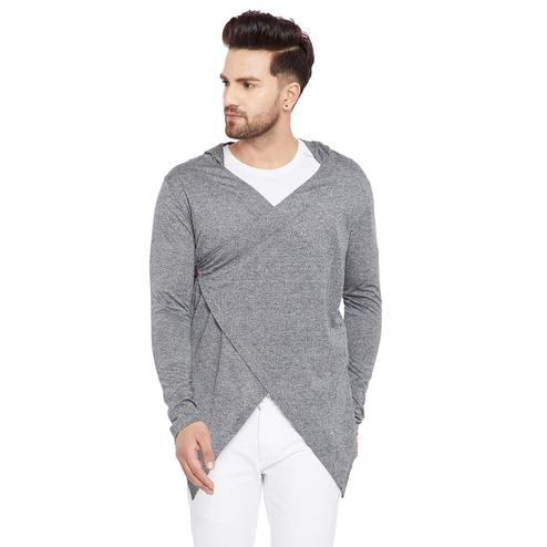 Chill Winston - Charcoal Colored Longline Hip Hop Crossover Short Cardigan for Men