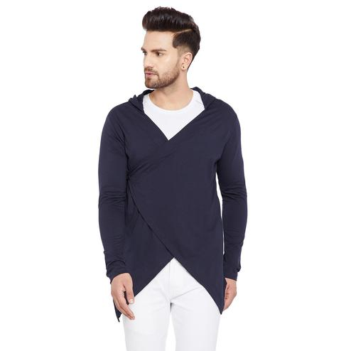 Chill Winston - Navy Blue Colored Longline Hip Hop Crossover Short Cardigan for Men