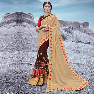 Beige And Brown Floral Embroidered Half & Half Georgette Saree