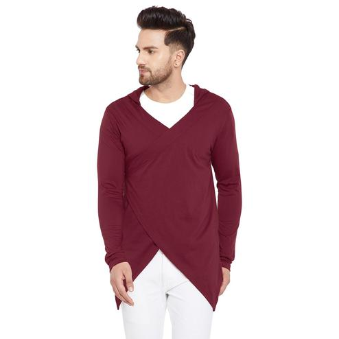 Chill Winston - Maroon Colored Longline Hip Hop Crossover Short Cardigan for Men