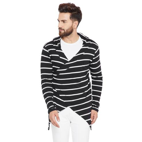 Chill Winston - Black-White Colored Longline Hip Hop Crossover Short Cardigan for Men
