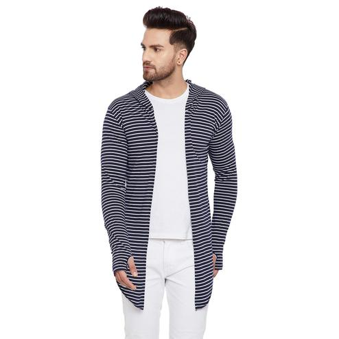 Chill Winston - Navy Blue-White Colored Stripe Hooded Cardigan with Thumb Insert for Men