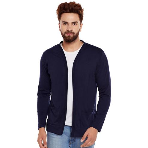Chill Winston - Navy Blue Colored Cotton Shrug For Men