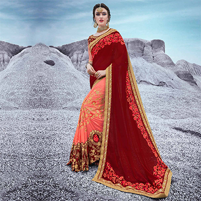 Maroon And Peach Floral Embroidered Half & Half Chiffon Saree