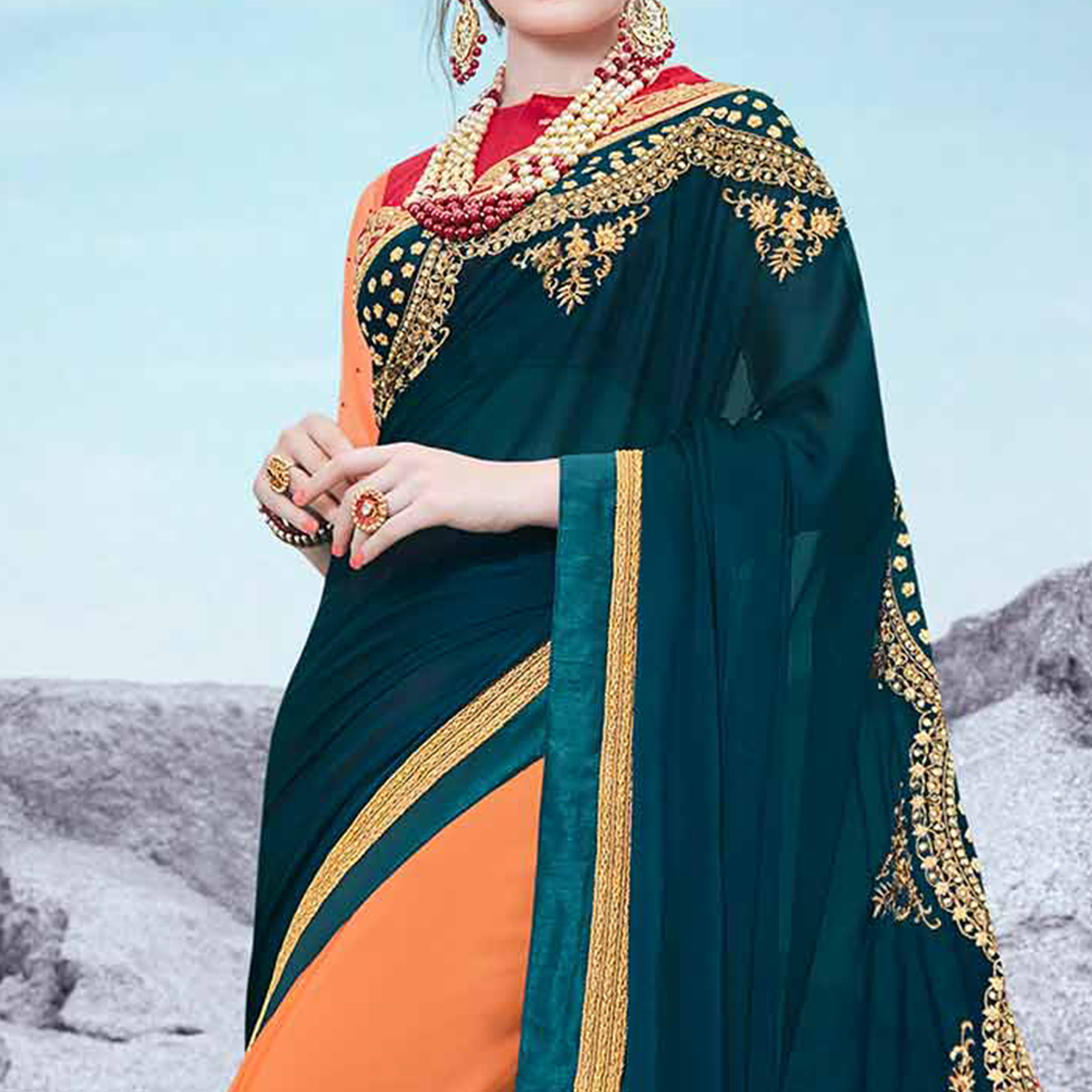 Teal Green And Orange Embroidered Half & Half Georgette Saree