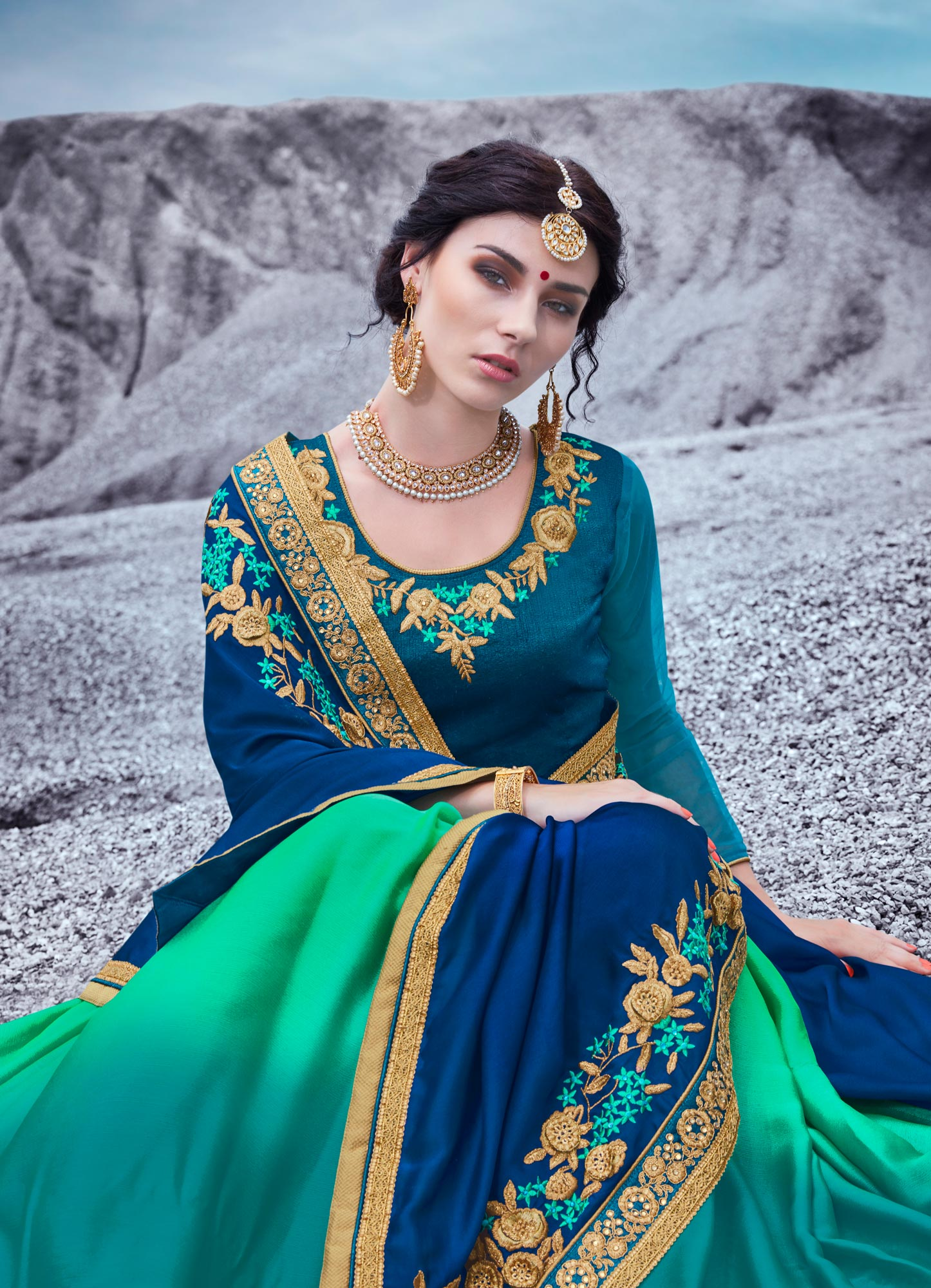 Royal Blue And Green Embroidered Half & Half Georgette Saree