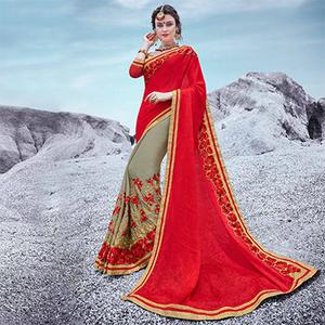 Red And Gray Embroidered Half & Half Georgette Saree