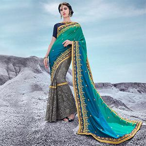Turquoise Blue - Green And Gray Floral Embroidered Half & Half Georgette Saree