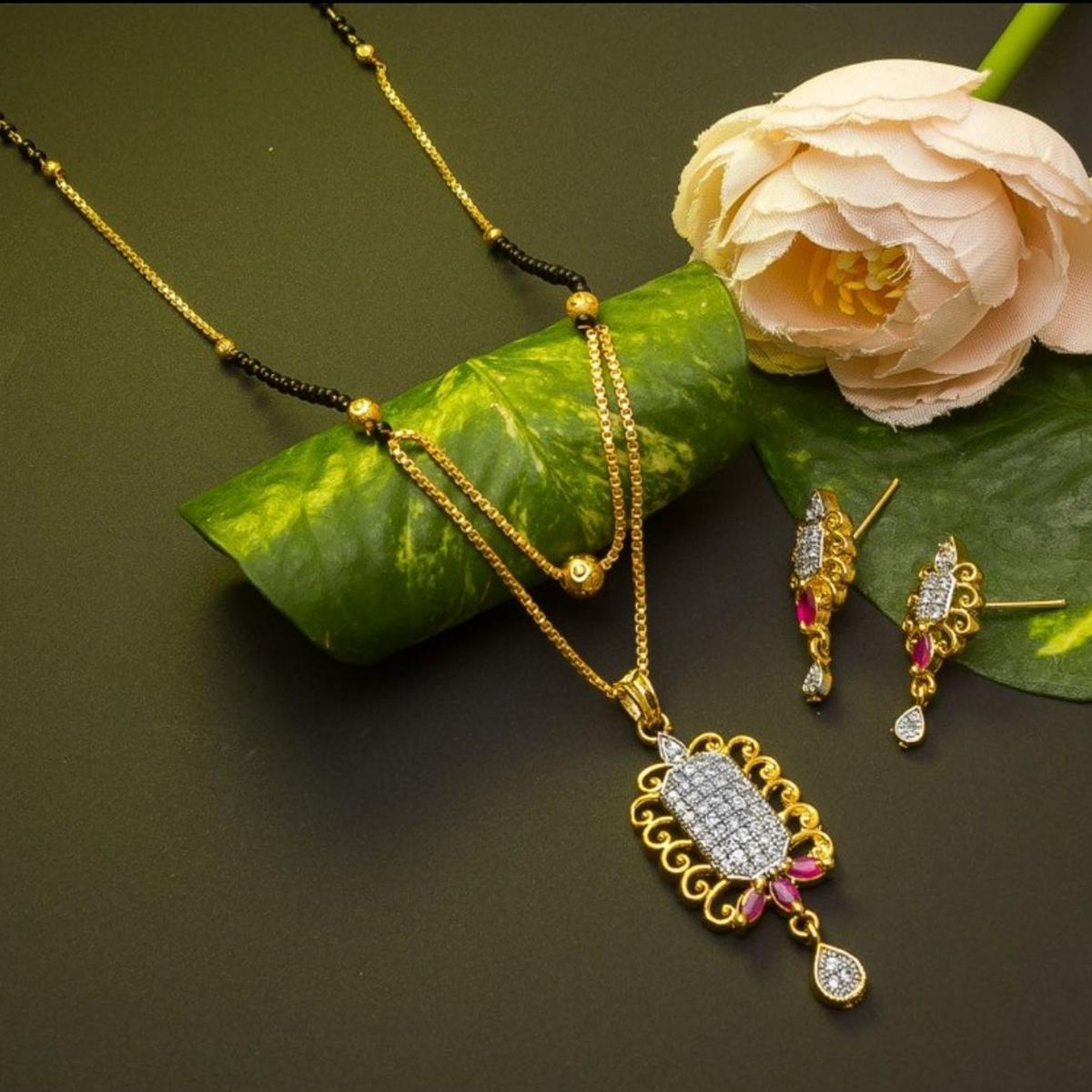 Exclusive Gold Plated American Diamond Alloy Mangalsutra Set