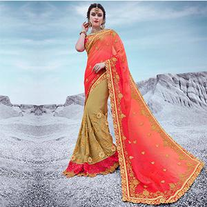Shaded Pink And Beige Floral Embroidered Half & Half Georgette Saree