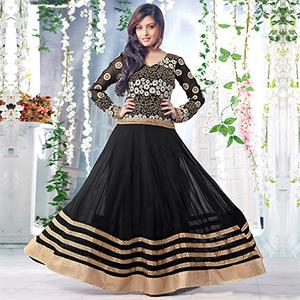 Black Georgette Embroidered Anarkali Suit