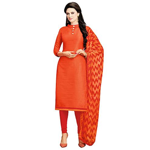 Orange Office Wear Unstitched Suit