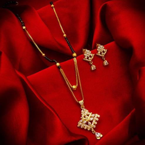 Desirable Gold Plated American Diamond Alloy Mangalsutra Set