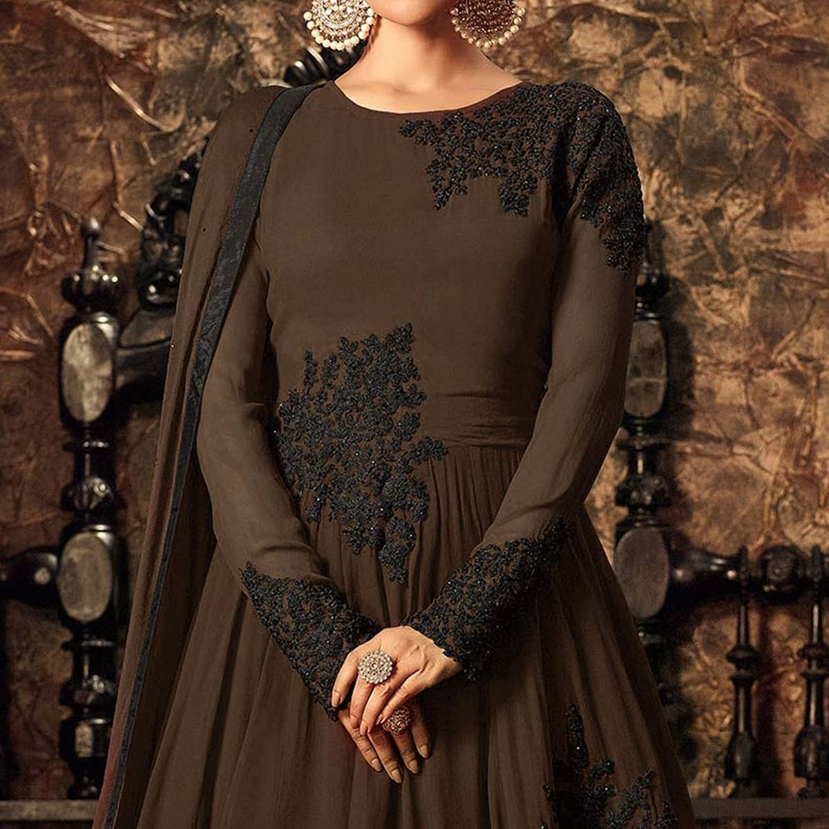 Partywear Designer Embroidery Coffee Georgette Anarkali Suit