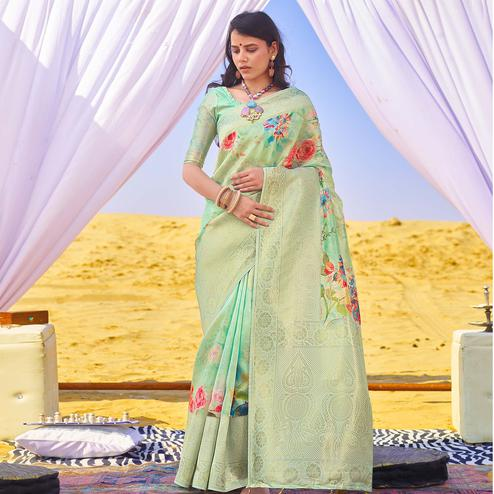 Pleasant Aqua Green Colored Festive Wear Woven Silk Saree