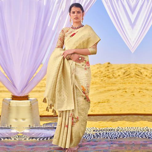 Opulent Beige Colored Festive Wear Woven Silk Saree
