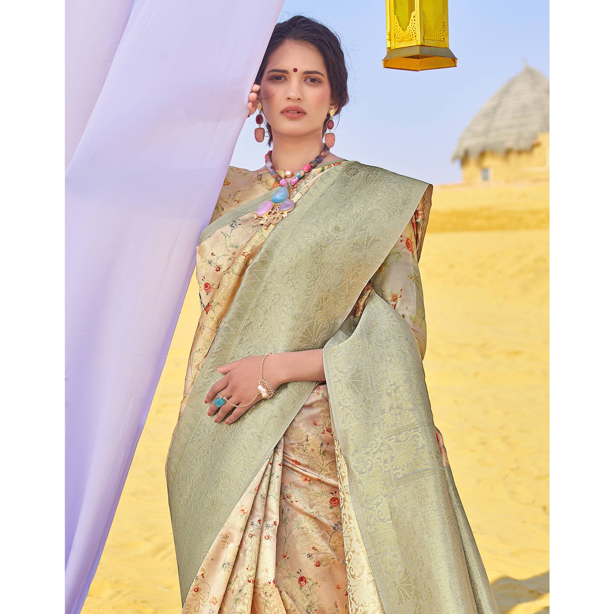 Glowing Grey Colored Festive Wear Woven Silk Saree
