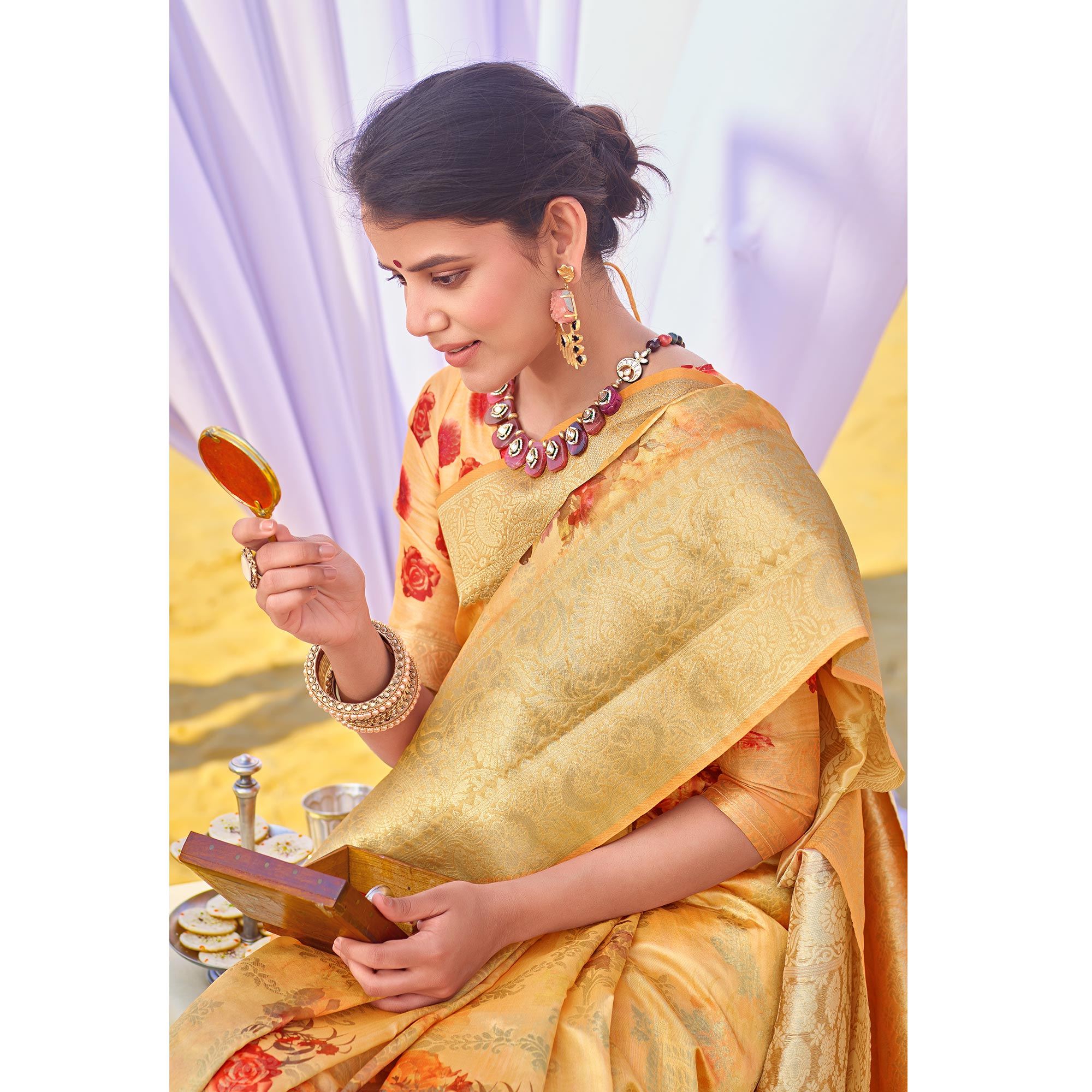 Exceptional Yellow Colored Festive Wear Woven Silk Saree