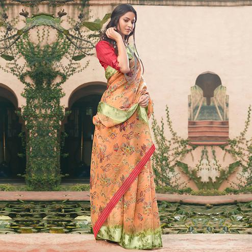 Glorious Peach Colored Partywear Floral Printed Linen Cotton Saree