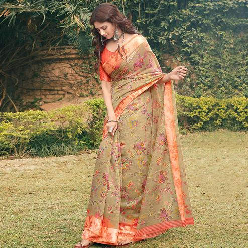 Beautiful Beige Colored Partywear Floral Printed Linen Cotton Saree