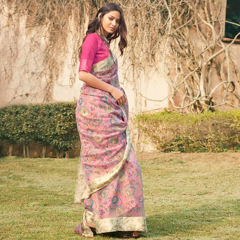 Graceful Pink Colored Partywear Floral Printed Linen Cotton Saree