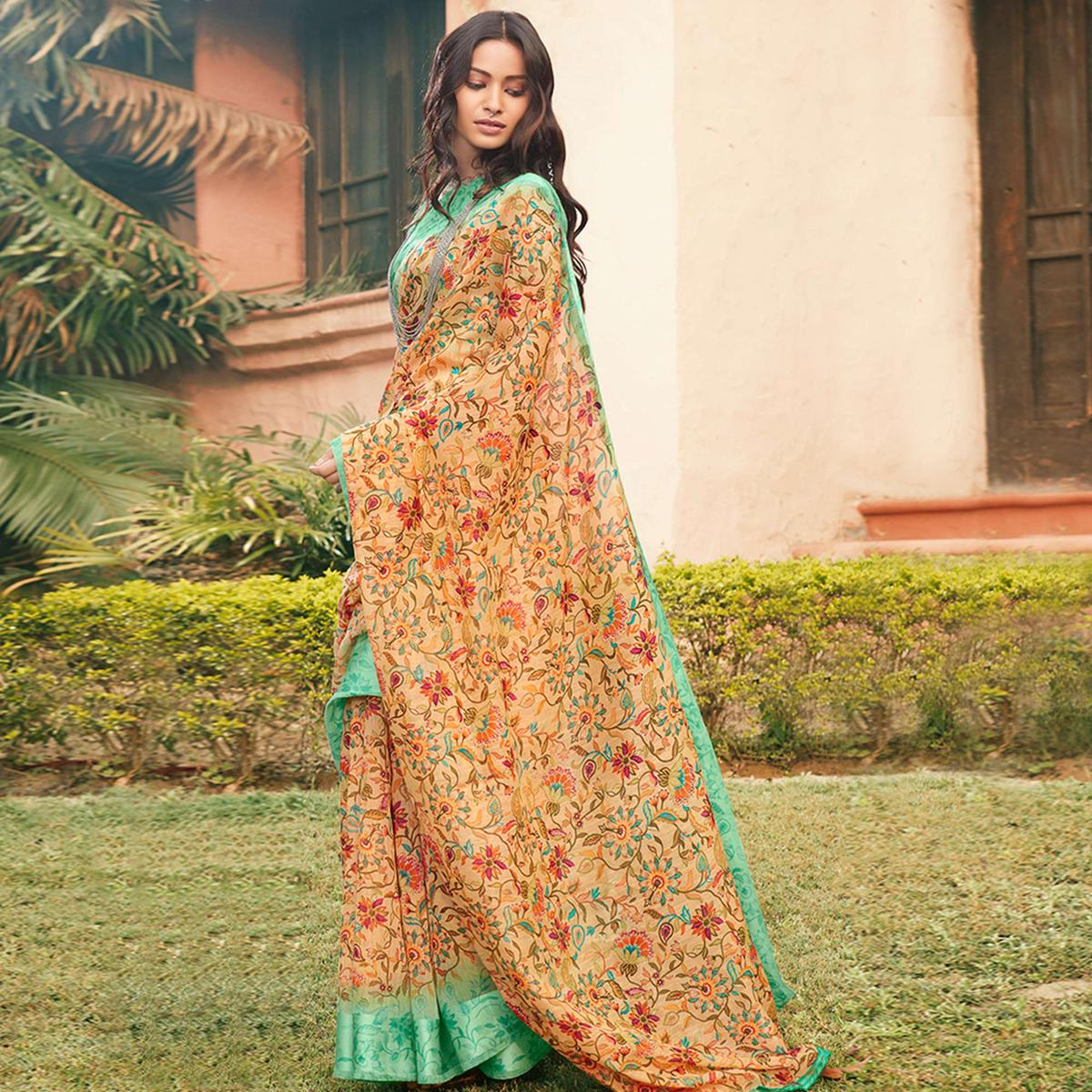 Charming Beige Colored Partywear Floral Printed Linen Cotton Saree