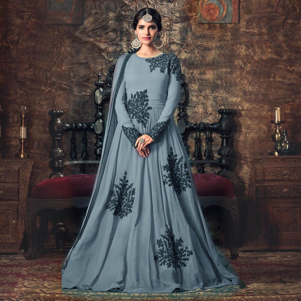 Partywear Designer Embroidery Light Grey Georgette Anarkali Suit