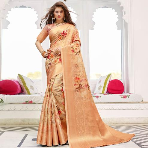 Blissful Peach Colored Partywear Digital Floral Printed Silk Saree